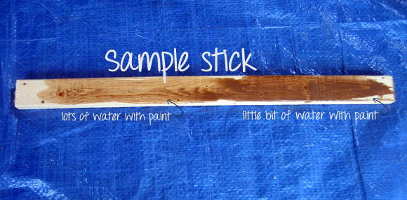 Try a sample of paint mixed with different amounts of water to determine exactly what look you want for your DIY pallet sign