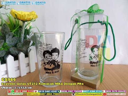 Souvenir Gelas UT212 Kemasan Mika Dengan Pita