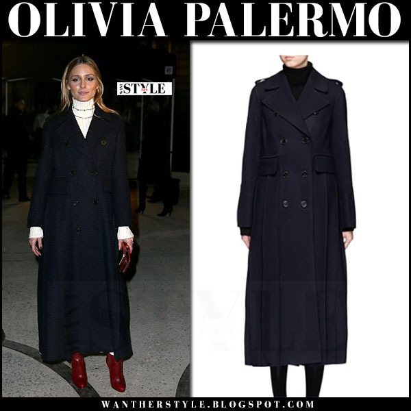 Olivia Palermo in dark navy double breasted valentino long coat and burgundy red leather boots jimmy choo what she wore pfw
