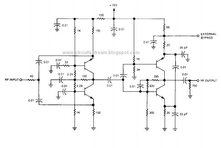 Simple RF Isolation Amplifier Circuit Diagram