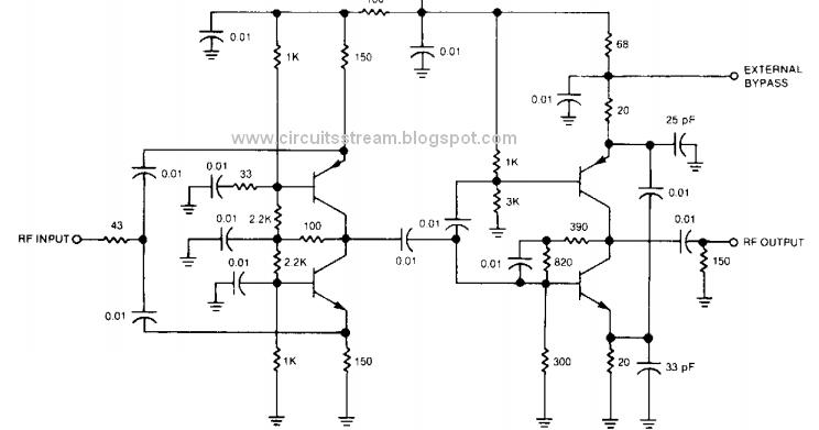 Simple RF Isolation Amplifier Wiring diagram Schematic