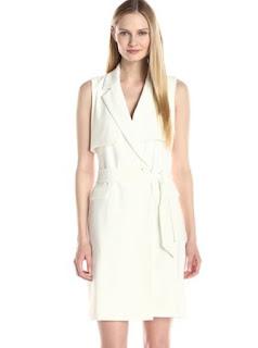 Badgley Mischka stretch crepe white wrap dress with belt