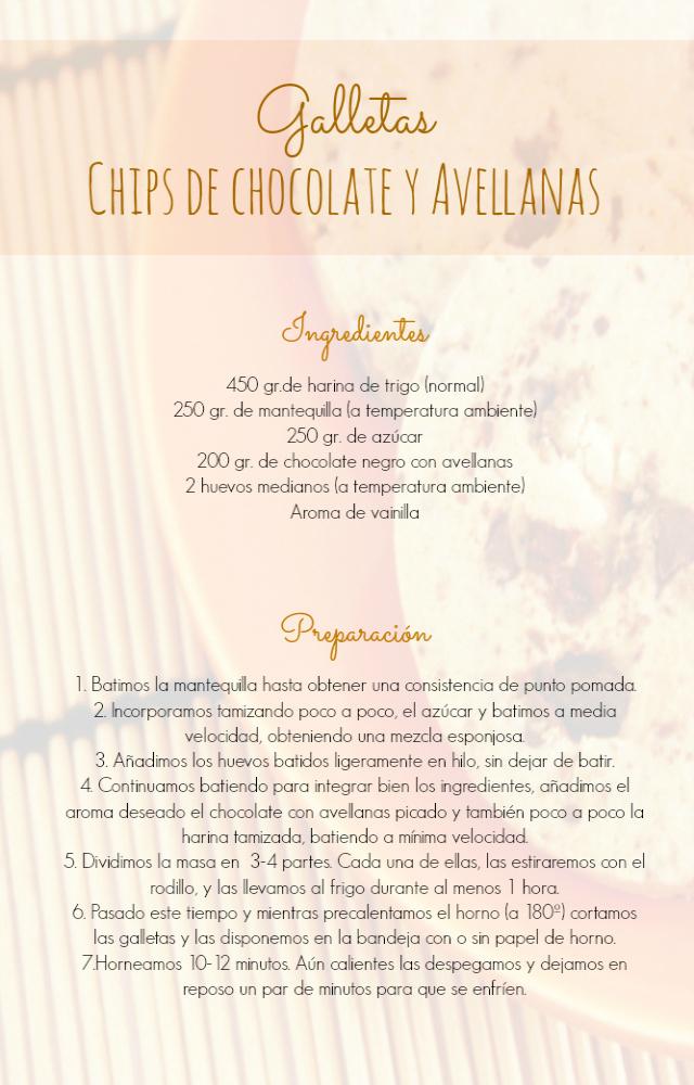 receta galletas chips de chocolate y avellanas