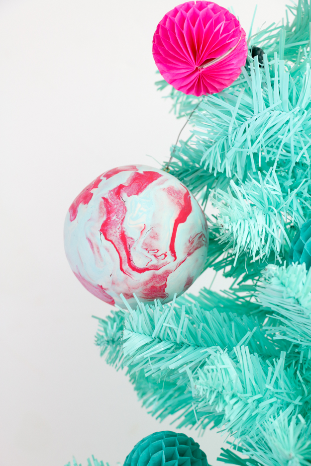 DIY Marbled Clay Ornaments using craft foam and Air Dry Clay - Easy holiday kid craft idea or easy diy ornaments