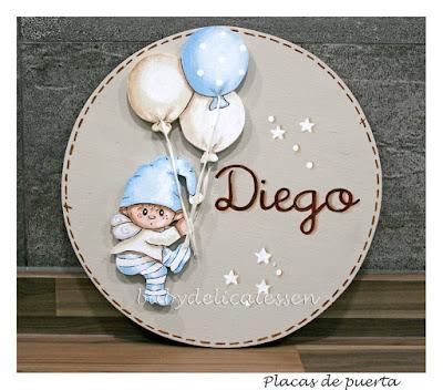 placa de puerta infantil duende globos nombre Diego babydelicatessen