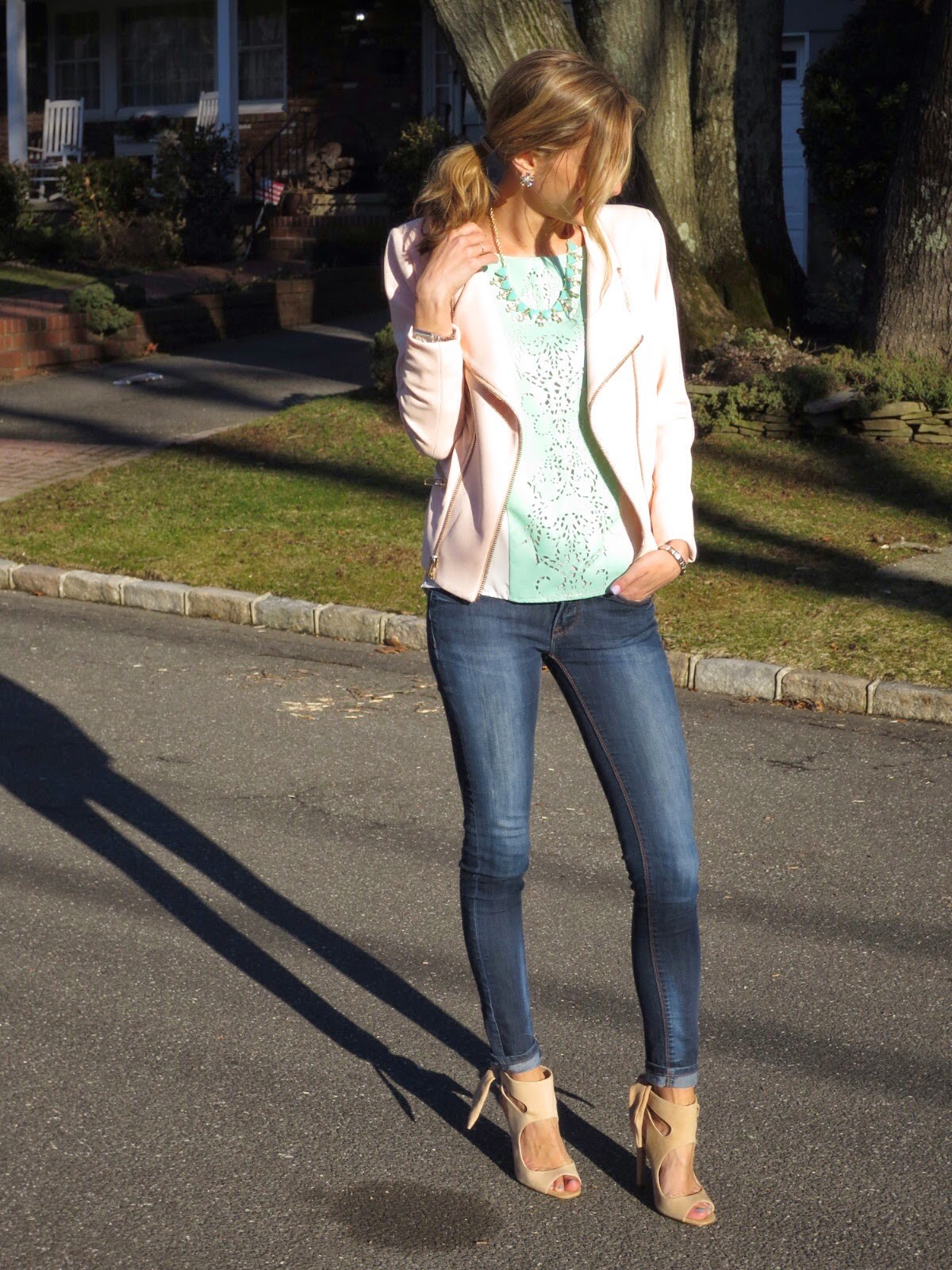 pink and mint spring outfit