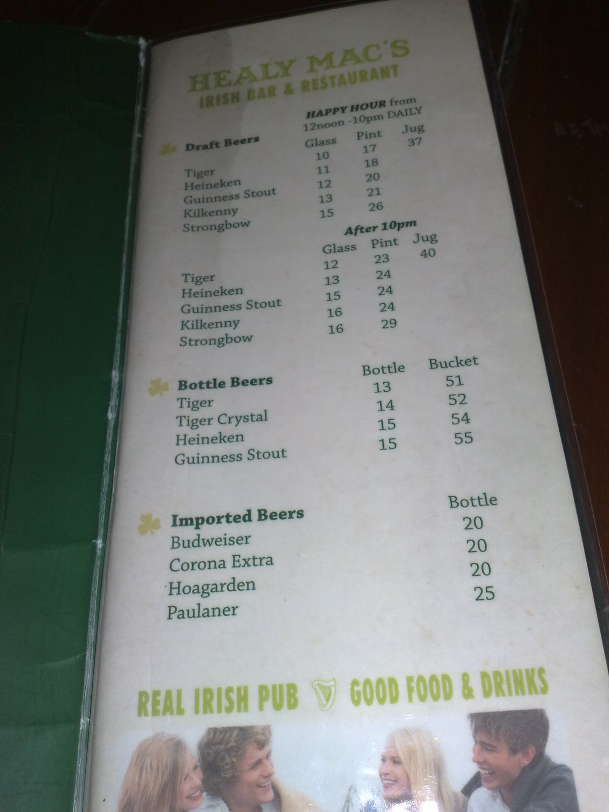 Healy Mac S Irish Bar Restaurant Penang Menu