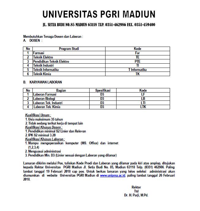 Lowongan Dosen & Laboran Universitas PGRI Madiun (UNIPMA)