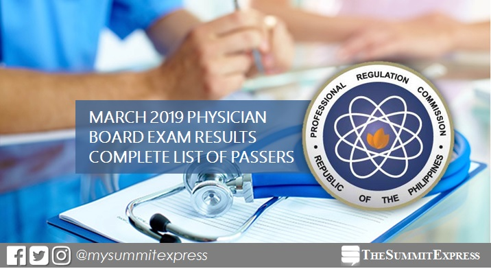 PLE RESULTS: March 2019 Physician board exam list of passers, top 10