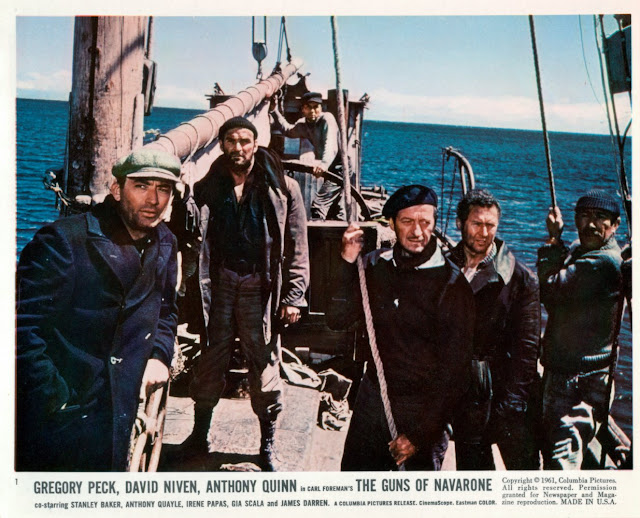 David Niven, Gregory Peck, Anthony Quinn, Stanley Baker, James Darren,  and Anthony Quayle in The Guns of Navarone