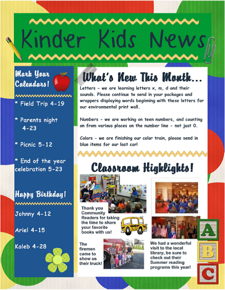 Daycare newsletter search results calendar 2015 for Childcare newsletter templates