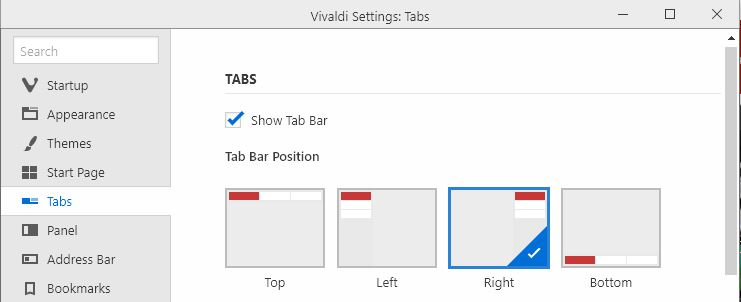 Customize tab positions Vivaldi browser tabs