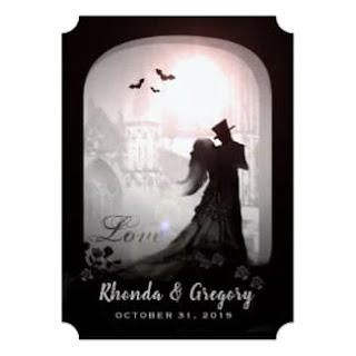 Halloween Love Romantic Gothic Cut Corners Wedding Invitation