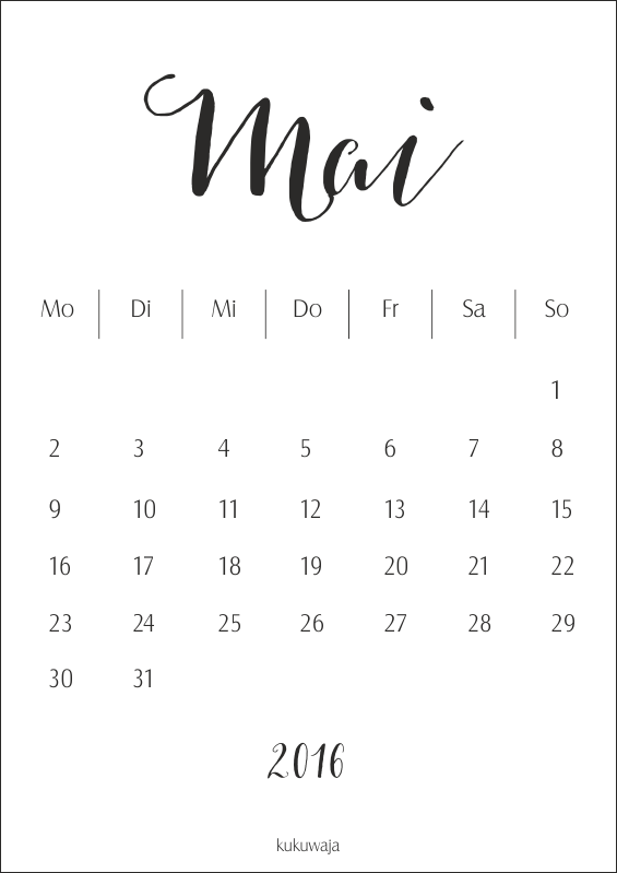 kukuwaja kalender monat mai 2016 freebie download. Black Bedroom Furniture Sets. Home Design Ideas