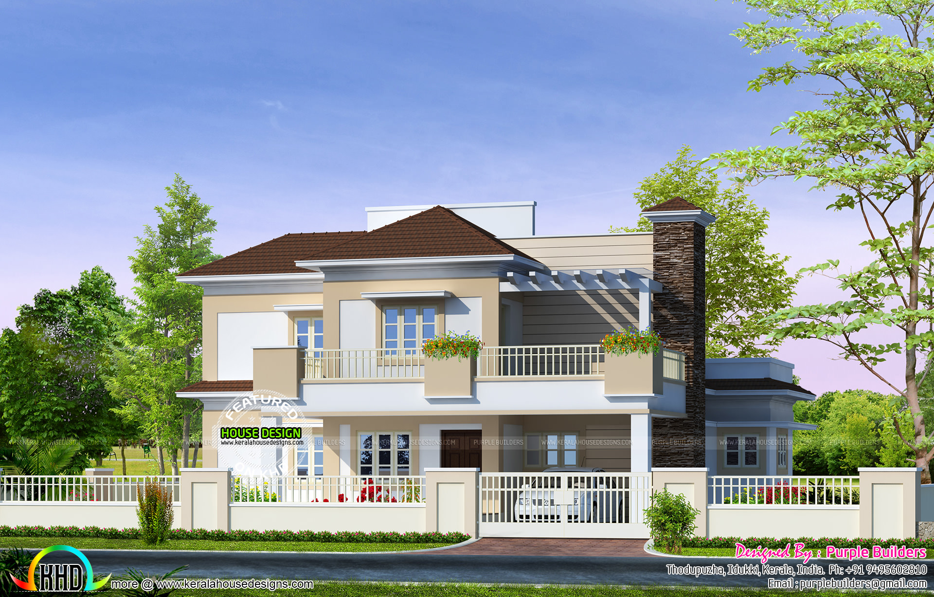 Double Floor Kerala Home Design 1100 Square Feet: 2614 Sq-ft Double Floor Home Plan