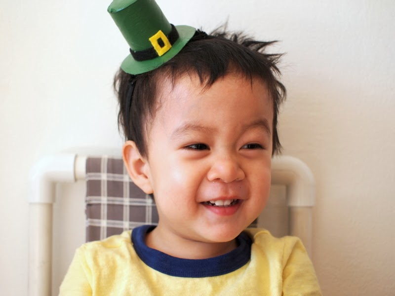 Child wearing Leprechaun Hat DIY Headband