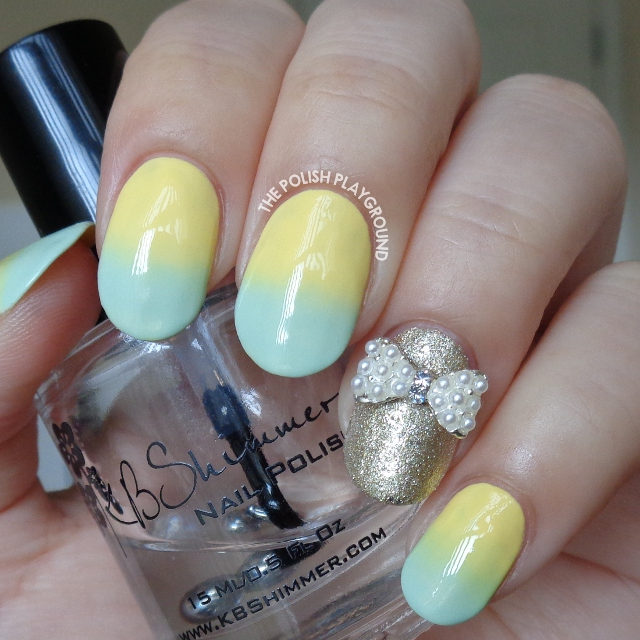 Pastel Yellow and Mint Green Gradient with Bow Stud Nail Art