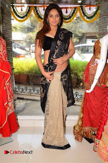 Actress Neetu Chandra Stills in Black Saree at Designer Sandhya Singh's Store Launch  0078.jpg