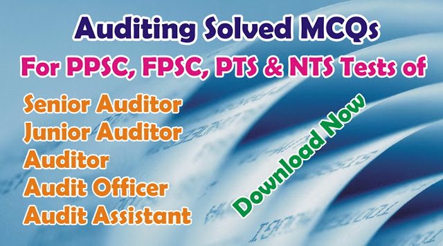 Auditing Solvesd MCQs For Senior Auditors Junior Auditors FPSC PPSC NTS Test PDF Book Free Download