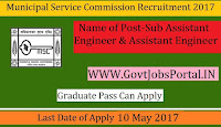 Municipal Service Commission Recruitment 2017–Sub-Assistant Engineer & Assistant Engineer