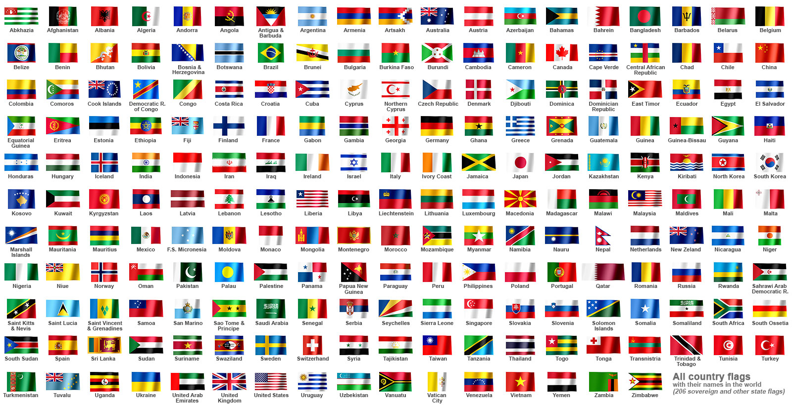 all country flags in
