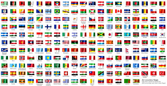 All country flags with their names in the world (206 countries)
