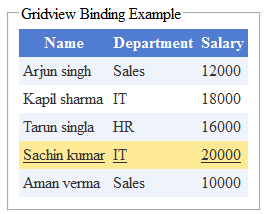 Bind and highlight gridview row on mouse over example  in asp.net