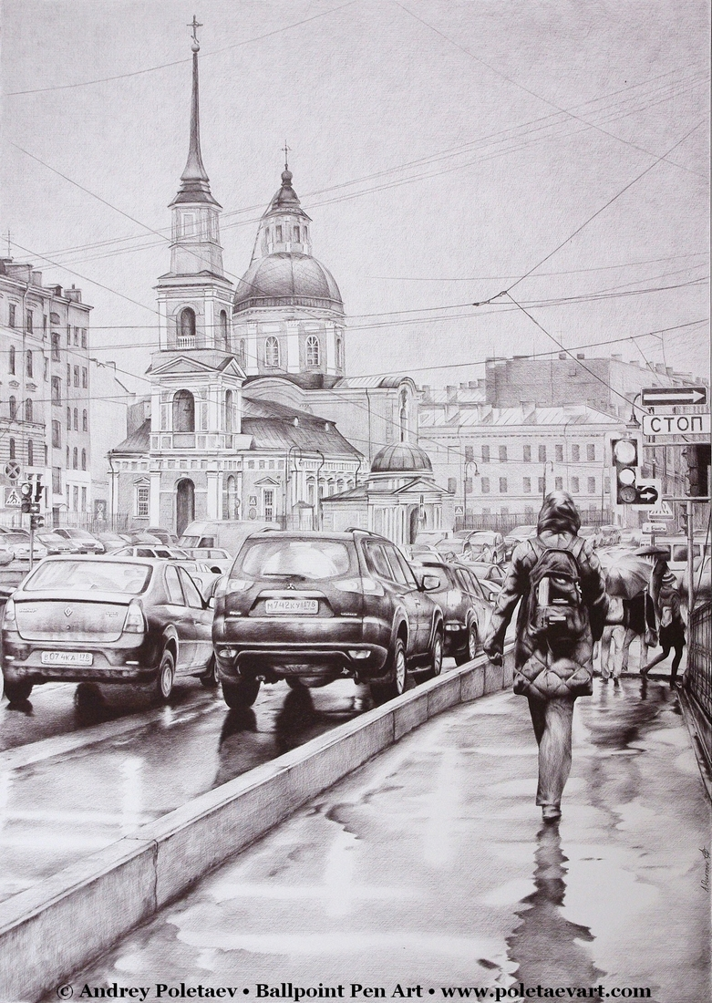 11-Rainy-Saint-Petersburg-Andrey-Poletaev-Detailed-Urban-Drawings-achieved-with-a-Ballpoint-Pen-www-designstack-co