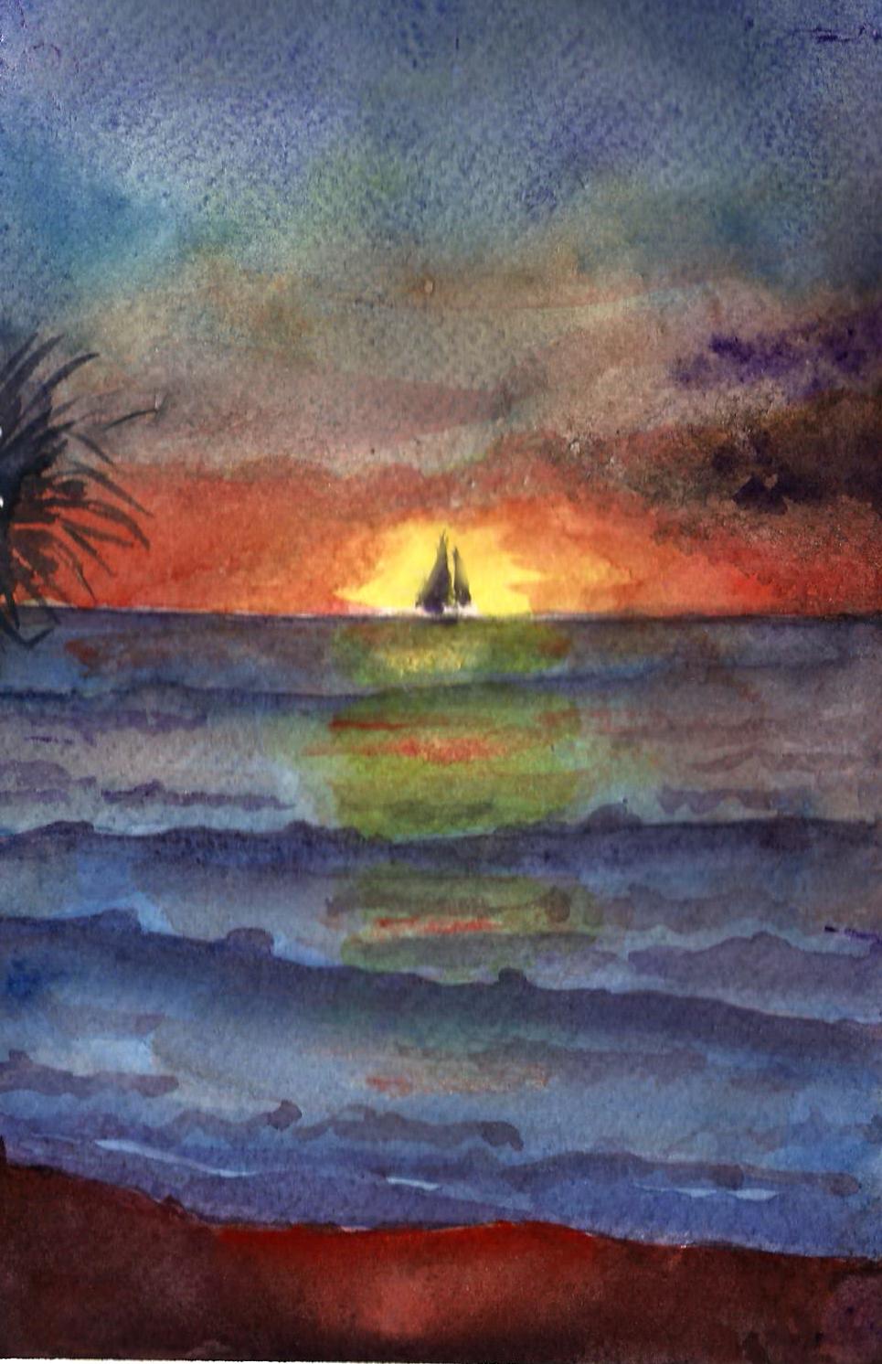 Luisa 39 s water colours tramonto sul mare for Disegni di mare da colorare