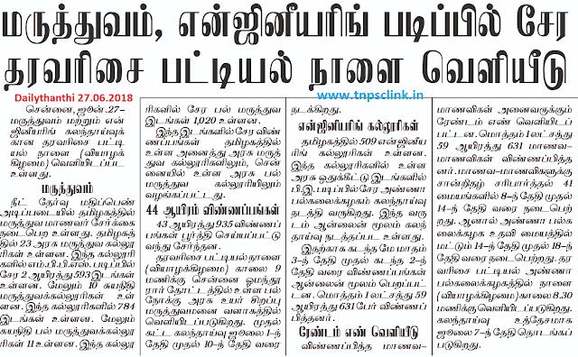 Tamil Nadu Medical and Engineering Rank List 2018
