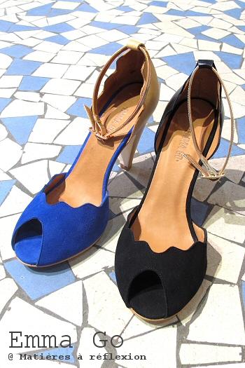 Emma Go chaussures bleu chair beige soldes escarpins Riona