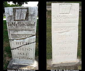 SIDE -BY-SIDE COMPARISON OF A GRAVESTONE POLISHED WITH A POWER TOOL