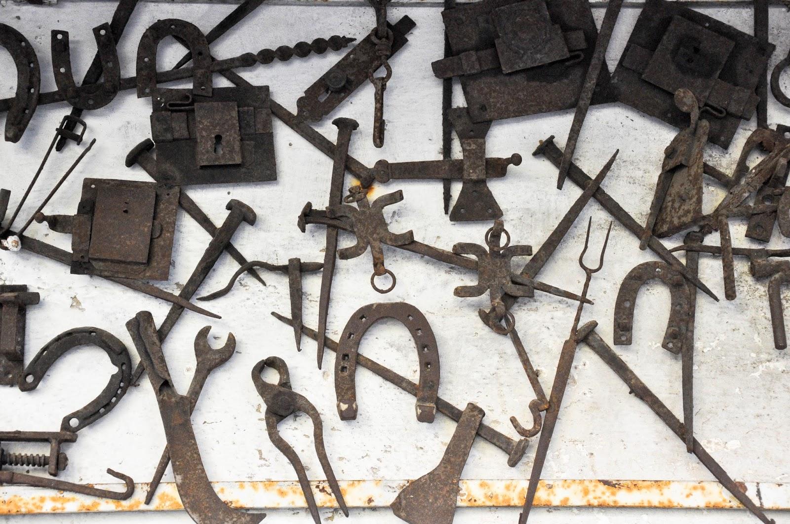 Decorations on the exterior walls, The metalsmith workshop, Castello di Alboino, Feltre, Veneto, Italy