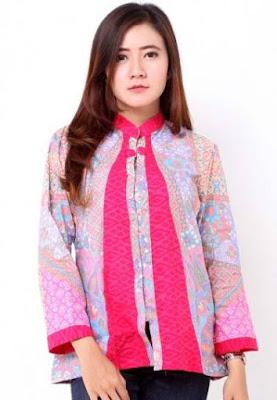 model baju batik wanita lengan panjang elegan