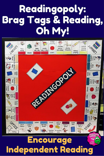 How to Play Readingopoly: A Fun Alternative to Reading Logs - Are you looking for a more interactive way to engage students in reading? Readingopoy uses stickers and Brag Tags to encourage students to read variety of genres! The program works well for both libraries and classrooms.