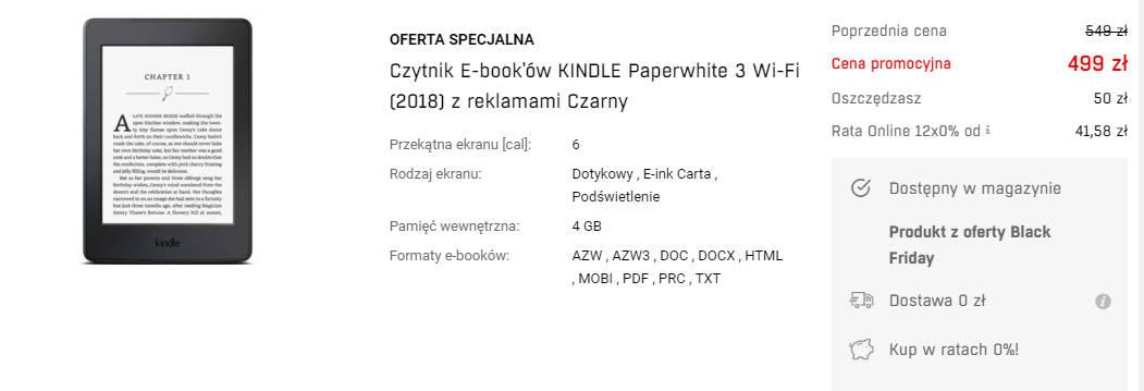 Kindle Paperwhite 3 z reklamami na Redcoon.pl