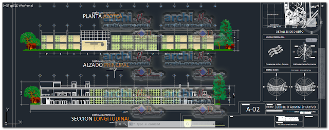 Horizontal projections of the project University Cafeteria administration building dwg