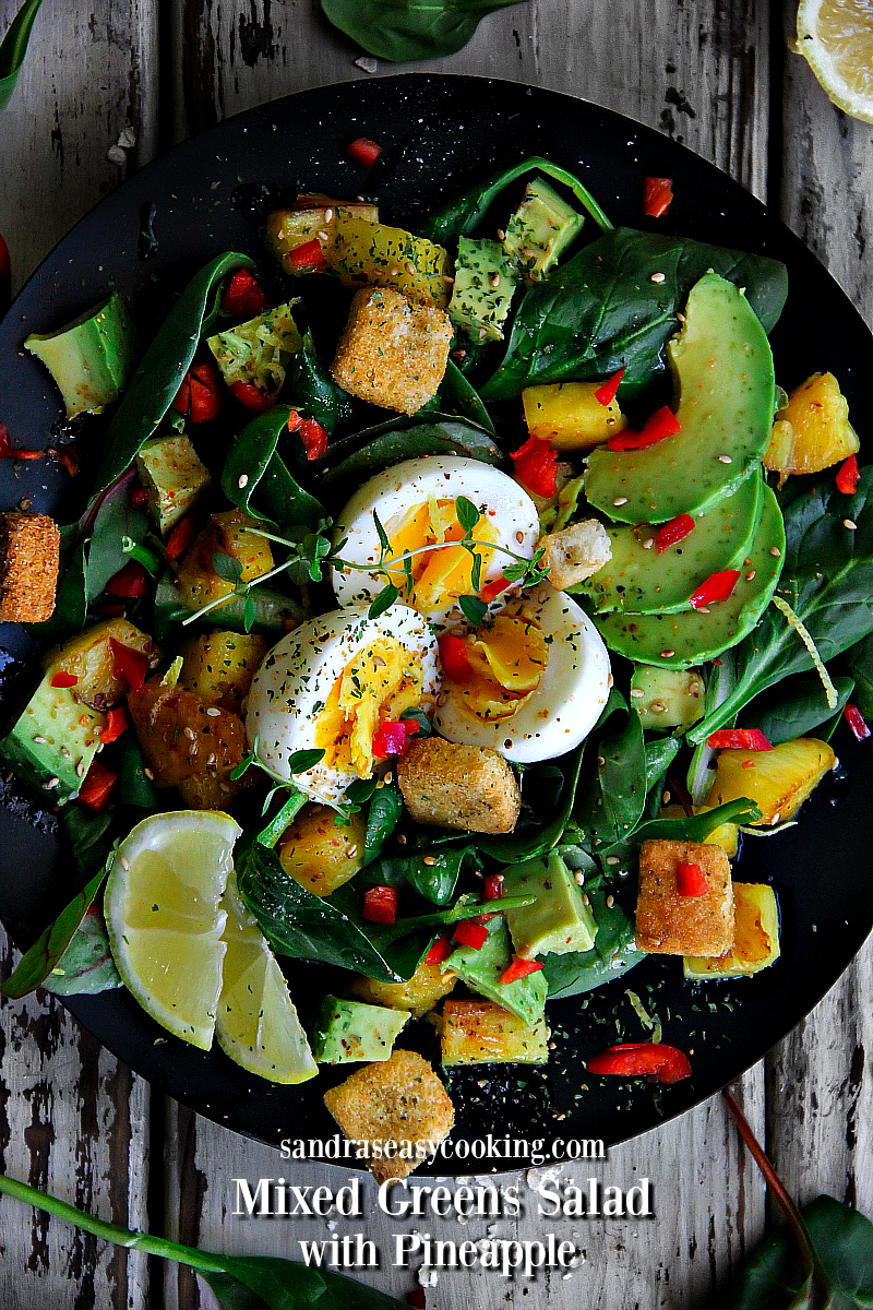 Mixed Greens Salad with Pineapple #recipe