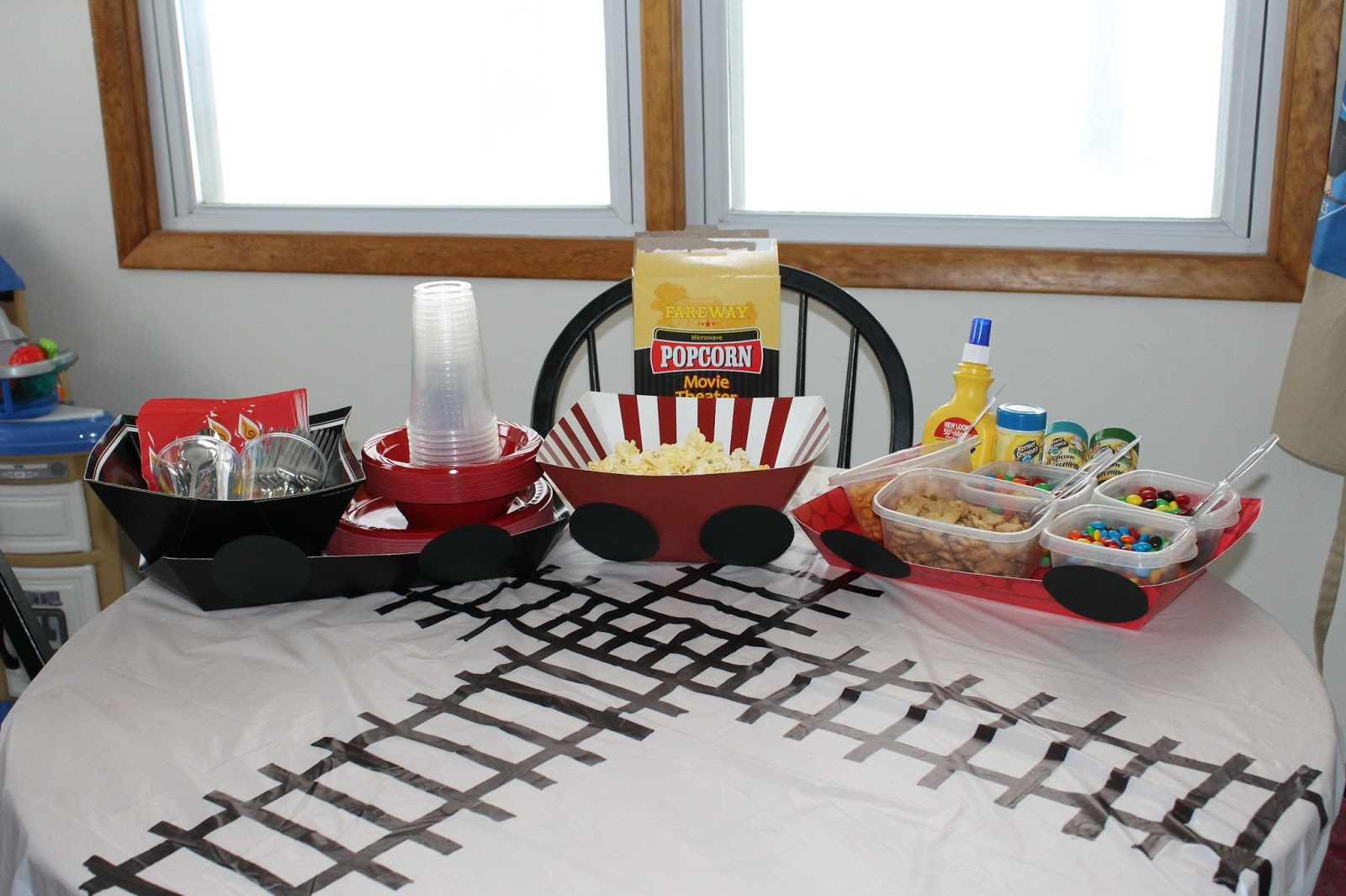 Popcorn Bar On Top Of Table Cloth I Simply Made By Using A Large Black Marker