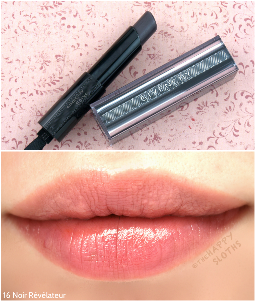 Givenchy Rouge Interdit Vinyl Color Enhancing Lipstick 16 Noir Revelateur Review and Swatches