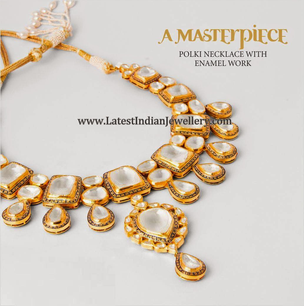 Polki Diamond Necklace Meenakari Work
