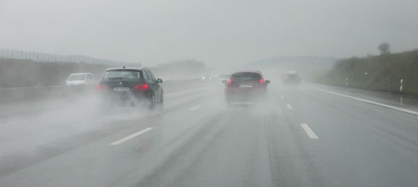 Highway driving on wet roads