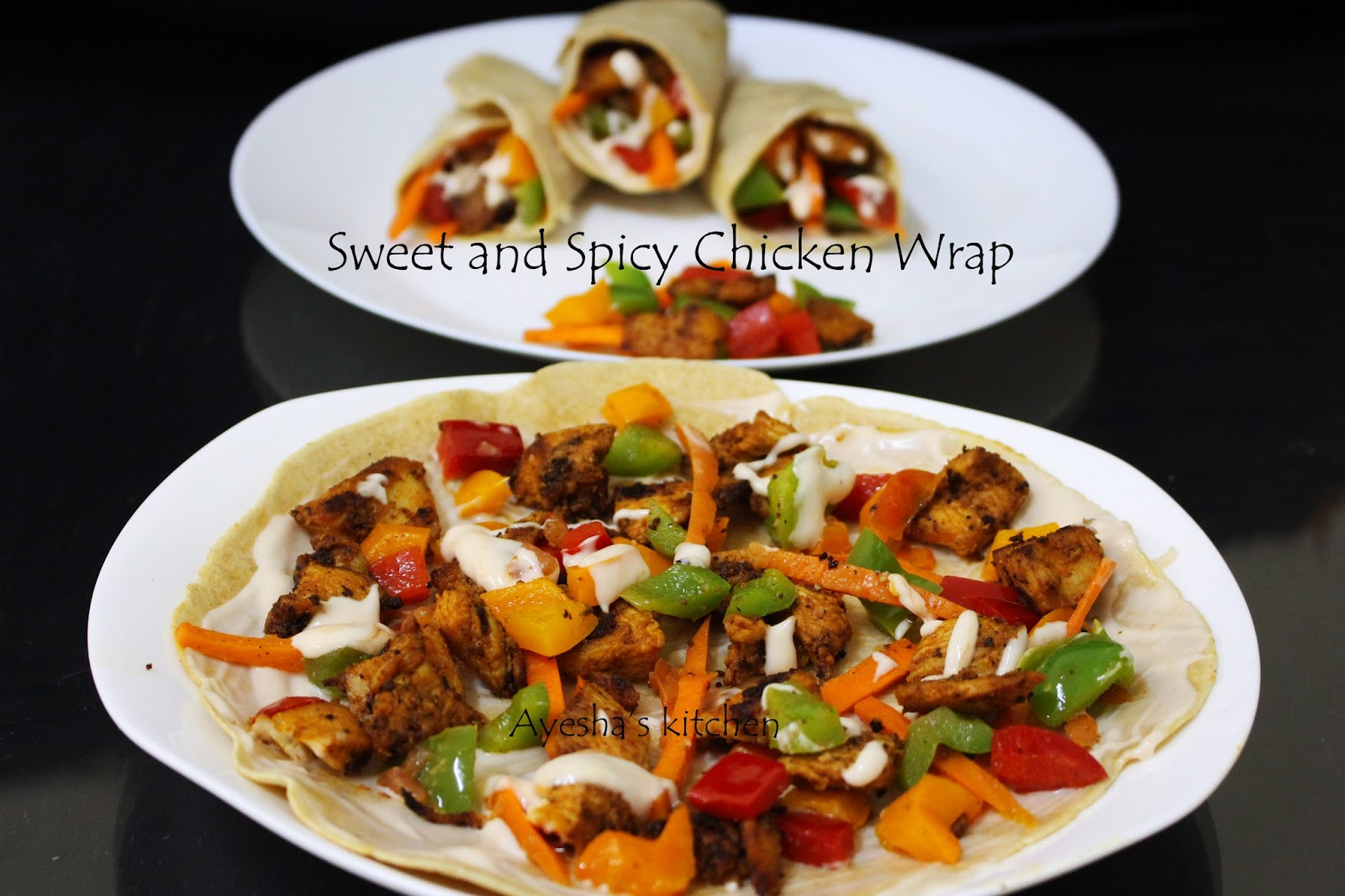 Sweet and spicy chicken wrap recipe easy dinner ideas tuesday april 19 2016 forumfinder Images