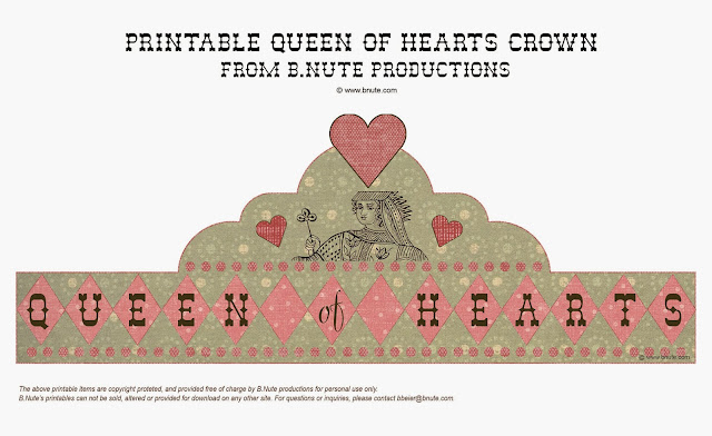 Free Printable Queen of Hearts Crown. Free Printable and Template.