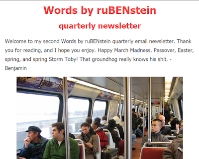 Words by ruBENstein quarterly newsletter