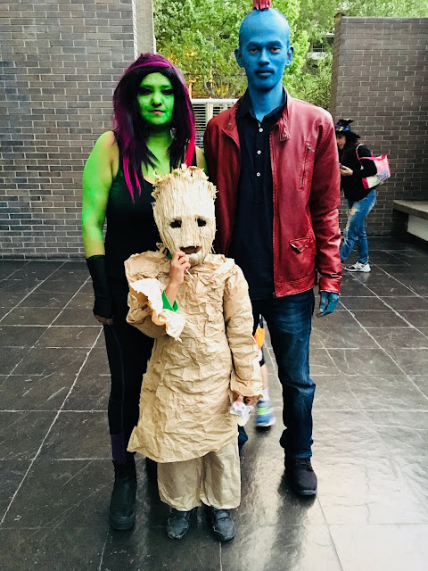 Practical Mom DIY Halloween Costume Guardians of the Galaxy: Gamora, Yondu & Groot