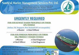Master, Chief Officer For LPG Tanker Ship