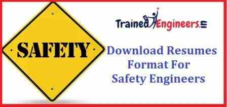Download Resumes Format For Safety Engineers