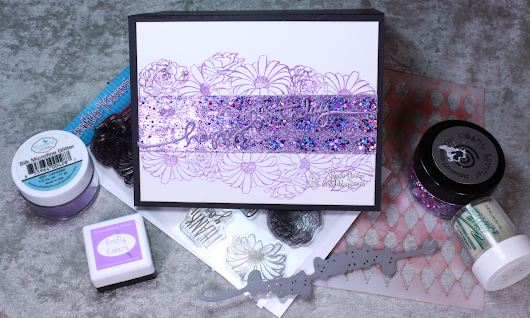 Purple Birthday - glittering with a stencil, masking, embossing