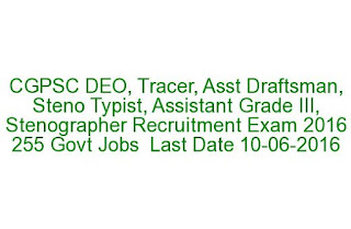 CGPSC DEO, Tracer, Asst Draftsman, Steno Typist, Assistant Grade III, Stenographer Recruitment Exam 2016 255 Govt Jobs